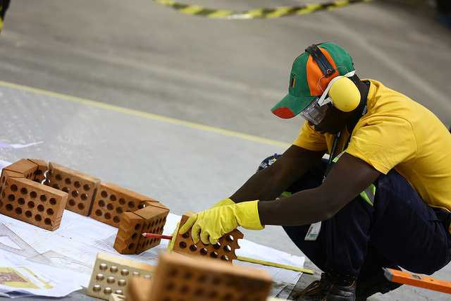 WorldSkills Zambia Competitor in Bricklaying