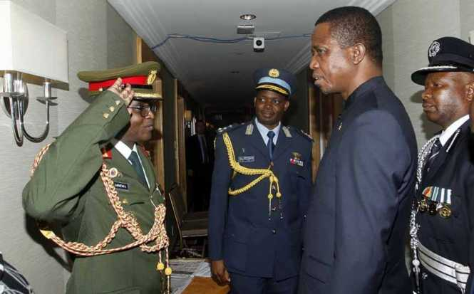 President Edgar Chagwa Lungu (second from right) being welcomed by his Defence Attaches Brig. Gen. Erick Mwewa (left) Brig Gen.Henry Mukuka (centre) at Palace Hotel in New York