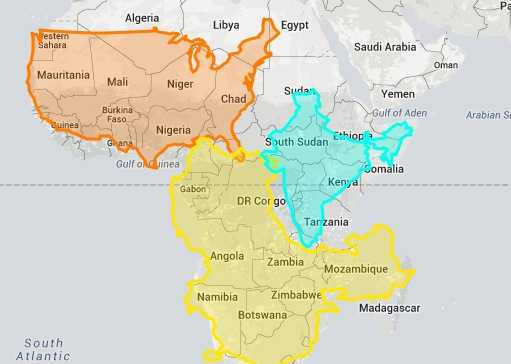 US, India and China ALL fit inside Africa :Try the Interactive map