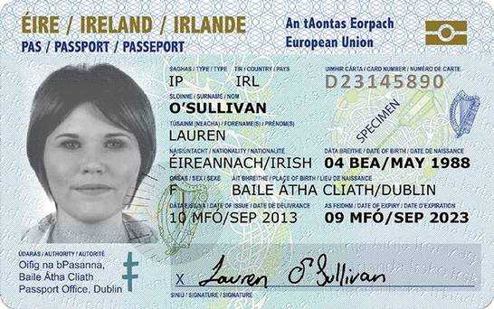Credit-card size IRISH passport for European