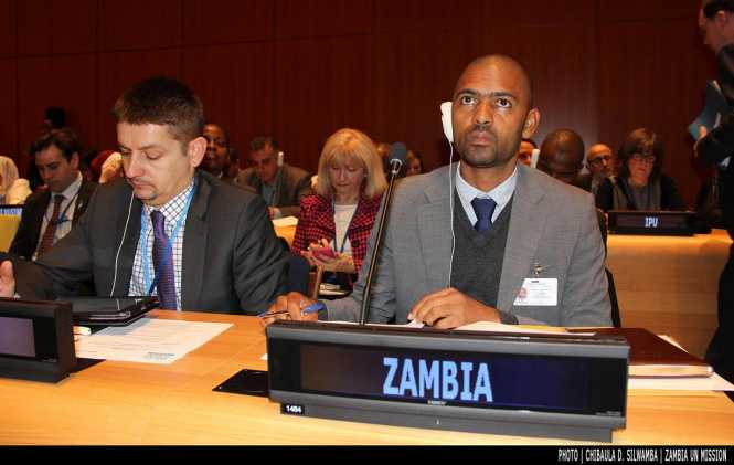 Minister of Youth, Sport and Child Development Vincent Mwale at the UN Economic and Social Council (ECOSOC) Youth Forum in New York, USA, 2 February 2016. Photo | Chibaula D. Silwamba | Zambia UN Mission
