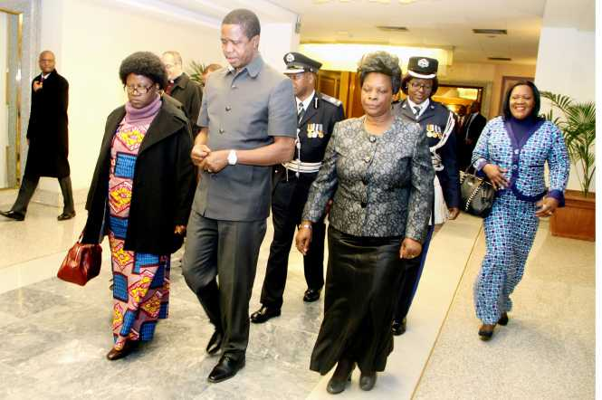 President Lungu and First Lady Esther Lungu flanked by Zambia's Ambassador to Italy Gertrude Mwape (L) on arrival at FCO,Flumicino Airport in Rome , Italy on Thursday, February 4,2016 -Picture by THOMAS NSAMA