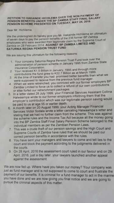 "PENSIONERS TO STORM HICHILEMA'S HOME TODAY ""PAY UP OUR K457M PENSION FUND"""