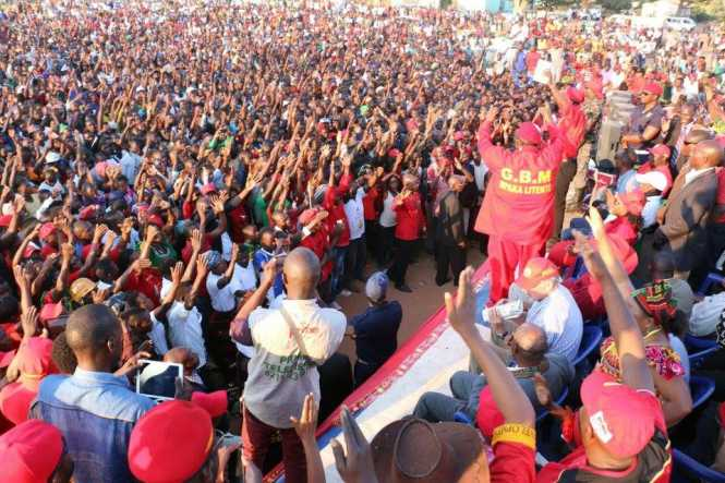 Supporters listening to running mate GBM speak