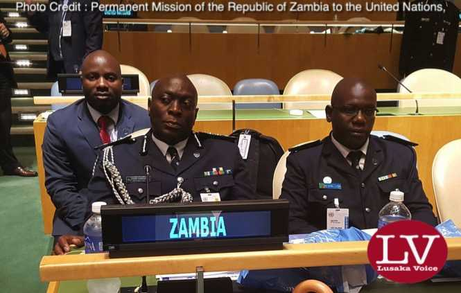 Zambia Police Inspector General Kakoma Kanganja, Zambia Police Service's Leo Silowa and Zambia UN Mission's Chibaula Silwamba at UN Chiefs of Police Summit at UN Headquarters in New York USA on Friday 3 June, 2016. Photo | Zambia UN Mission Press Office