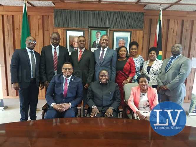 Hon Kalaba in Pretoria with diplomatic staff at the Zambian High Commission. - lusakavoice.com