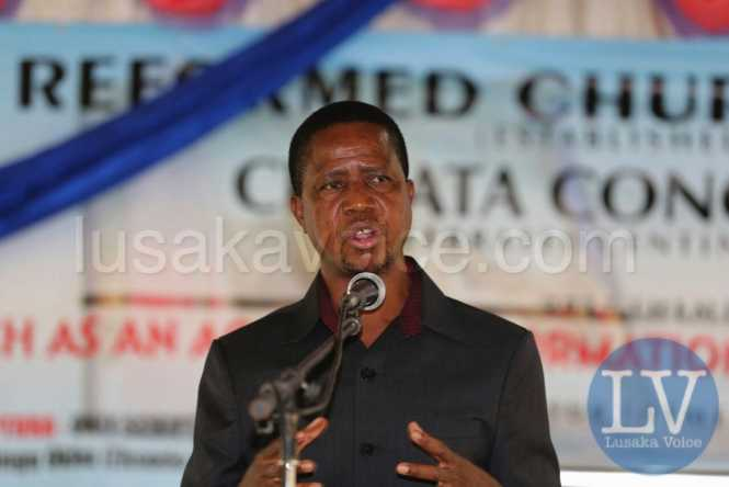 President Lungu Addressing congregants at the Reformed church of Zambia in Chipata