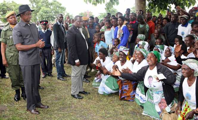 President Edgar Lungu being entertained by PF supporters on arrival in Samfya District,Luapula Province where he addressed a rally on Friday, February 10,2017- By Eddie Mwanaleza