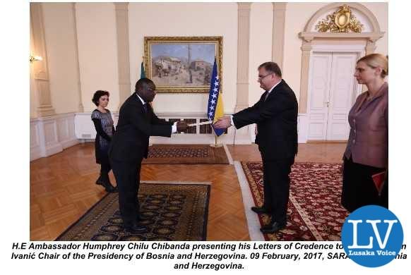 ZAMBIA'S AMBASSADOR PRESENTS CREDENTIALS TO BOSNIA AND HERZEGOVINA.
