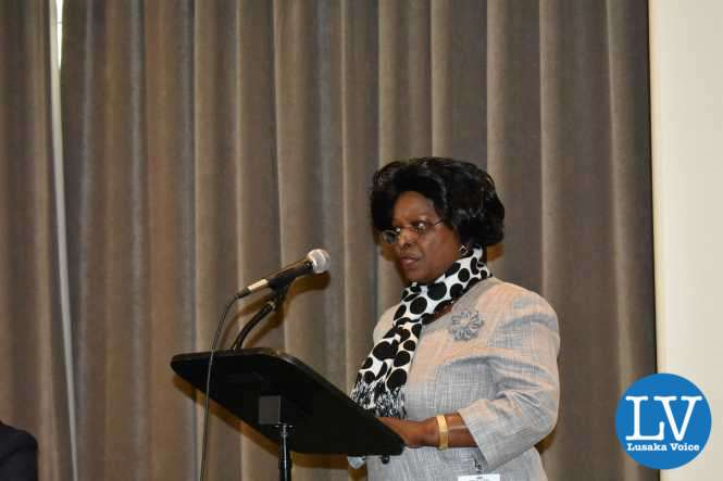 First Lady of Zambia Mrs Esther Lungu delivering a keynote address at a side-event co-organised by FAO, IFAD, WFP, UN Women, the EU and the Permanent Mission of Slovak to the UN