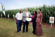 Caption L-R- Paul Kapapula Head of Sales Syngenta Zambia, Ernest Myburgh - Head of Syngenta Zambia, Anafrida Bwenge - Feed the Future Division Chief USAID Zambia, Ndekazi Olive Kaluwa - Private Sector Development Specialist USAID Zambia