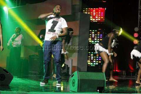 Hip Hop artist SlapDee performs during the Zambian Music Awards at government complex in Lusaka on Friday Night