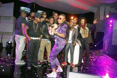 Judy posses with Awards and other artist's at the Zambian Music Awards at government complex in Lusaka on Friday Night
