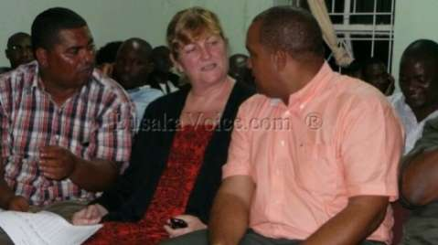 Western Province Minister Obvious Mwaliteta,Lawrence Evance and his wife chats awaiting his results