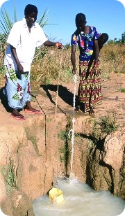 An unsafe water source in Zambia.