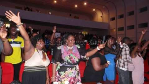 Nigerian high Ambassador  watching Ice Prince performing  at Lusaka's Club LIV  Over the Easter weekend