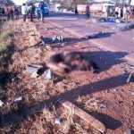 Acident Scene with human remains of the 16 people who perish in Chibombo accident
