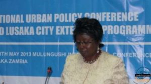 Local government minister Emerine Kabanshi at the  National urban policy conference at Mulingushi conference centre.