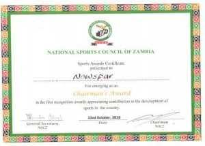 National Sports Council of Zambia AWARD CERTIFICATE