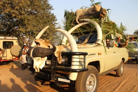Afrcan Trophy truck making its way into Chinotimba stadium during a street carnival in Victoria Falls
