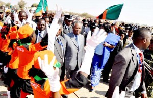 President Michael Sata on arrival at Harry Mwaanga Nkumbula International Airport for the opening of the UNWTO 20th General Assembly -Picture by THOMAS NSAMA