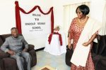 First Lady Dr Christine Kaseba with President Sata when they visited her former school. This was at Mindola Hig School after the President Launched the construction of the Kitwe-Chingola dual carriageway