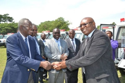 HEALTH Minister Joseph Kasonde - Left, Ministry of Health Permanent Secretary, Dr Peter Mwaba CENTRE