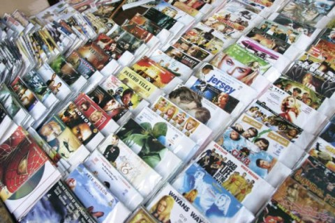 Pirate DVDs and music CDs