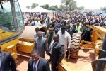 President Sata during the construction of Kitwe-Chingola dual carriageway on November 12,2013 -Picture by EDDIE MWANALEZA