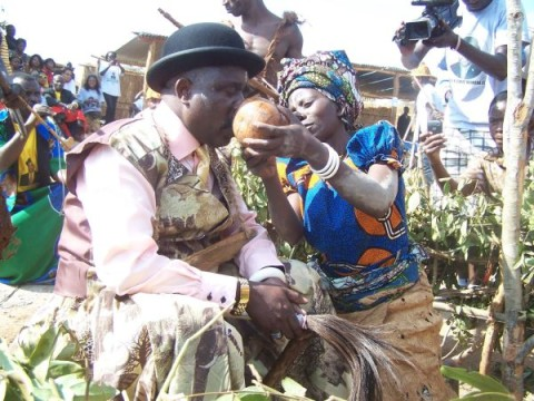 Chief Mumena during Lubinda Ntongo ceremony,in a traditional ritual known as ku-somona or tasting the first fruits of harvest