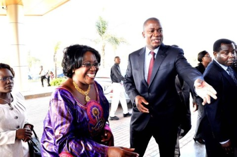 First Lady Dr Christine Kaseba being ushed by LAZ president James Banda on arrival at Radisson Blu Hotel for the LAZ programme for Anti-GBV Breakfast in Lusaka on October 22,2013