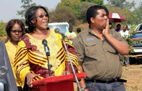 First Lady Dr Christine Kaseba with Central province minister Mwaliteta during Ichibwelamushi Cultural ceremony at Chalata main arena in Mkushi on September 14,2013
