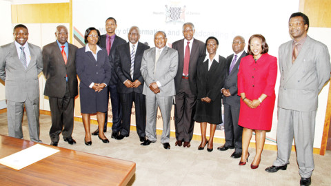 MINISTER of Information and Broadcasting Services Mwansa Kapeya (centre) and Permanent Secretary George Zulu (fifth from left) pose with the just appointed Zambia National Broadcasting Corporation Board