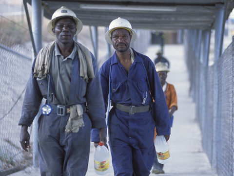 Mine workers at NFC Africa Mining shaft at Chimbishi
