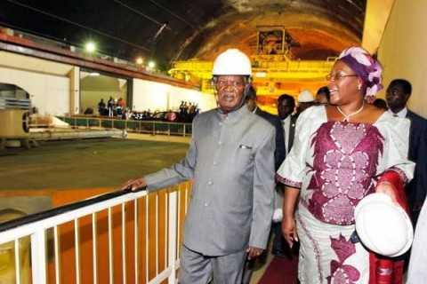President Sata with First lady Dr Christine Kaseba during the commissioning of the Kariba North bank Extension Power Project in Southern Province on December 4,2013 -Picture by EDDIE MWANALEZA