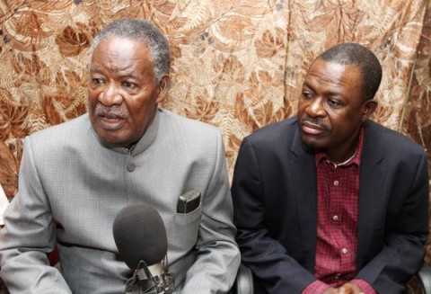 President Sata with Justice minister Wynter Kabimba during an Interview on radio Yangeni — at Mansa District, Zambia