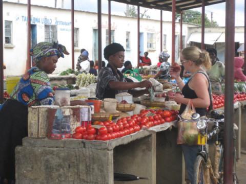 shopping for vegetables at the vegetable market in Serenje boma