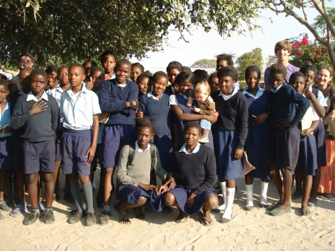 some grade 7 students at the basic school in Sesheke, Zambia