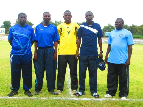 HARRISON TEMBO (left) with other Kabwe-based coaches