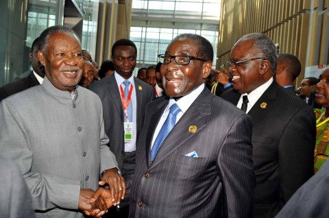 Sata and Mugabe at SADC meeting on the sidelines of the 22nd Ordinary Session of African Union at AU Conference Centre.