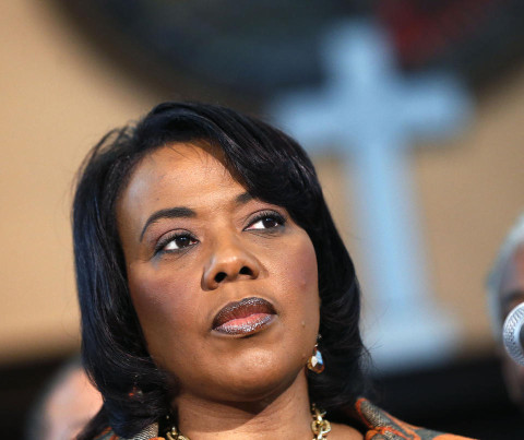 Bernice King speaks during a news conference at historic Ebenezer Baptist Church
