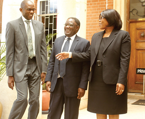 FROM right- Justice Rhoyda Kaoma as chairperson of the Tribunal, judge Ernest Mukulamutiyo and Judge Chalwe Mchenga after they were sworn as members of the tribunal constituted to probe Sylvia Masebo.- Picture by COLLINS PHIRI