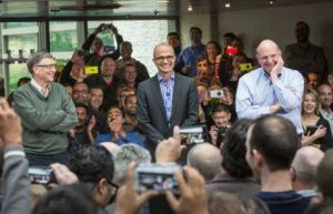 From left, Bill Gates, Satya Nadella and Steven A. Ballmer at a Microsoft event on Tuesday. Mr. Nadella is the third chief executive in Microsoft's almost 40-year history. Microsoft