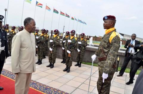 President Michael Sata upon arrival in Kinshasa, Democratic Republic of Congo for COMESA Summit