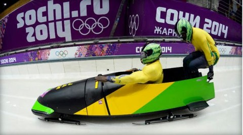 Jamaica-1 two-man bobsleigh steered by Winston Watts races in the Bobsleigh Two-man Heat 1 at the Sanki Sliding Center in Rosa Khutor during the Sochi Winter Olympics on February 16, 2014.