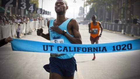Jordan Chipangama wins the mens division of the U-T California 10/20 race,