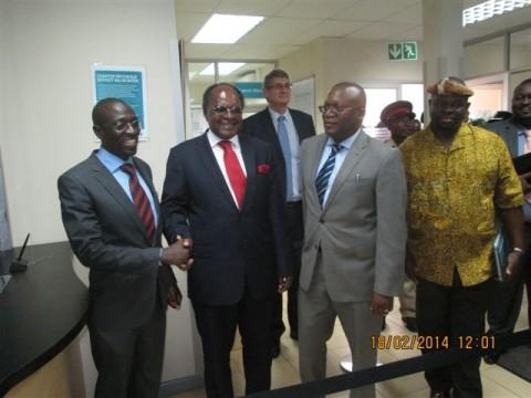 L-R FNB Chipata branch manager- Thomas Phiri, BOZ Governor- Dr. Gondwe, FNB Chariman-Renatus Mushinge, Chief Madizmwe
