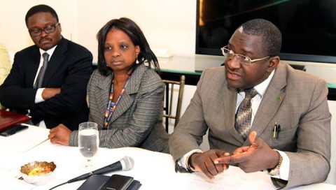 LEFT – to RIGHT- Zambia's Ambassador to US Palan Mulonda with Foreign affairs Permanent Secretary Margaret Miyoba-Bwanga and Foreign minister Wylbur Simuusa September 23,2013 -Picture by EDDIE MWANALEZA