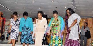 Left to right- Madagascar's First Lady Voahangy Rajaonarimapianina , Namibia's Penehupifo Pohamba, Mozambique Maria Guebuza, Ghana's Lordina Mahama and Zambia's First Lady Dr Christine Kaseba heading for a group photograph