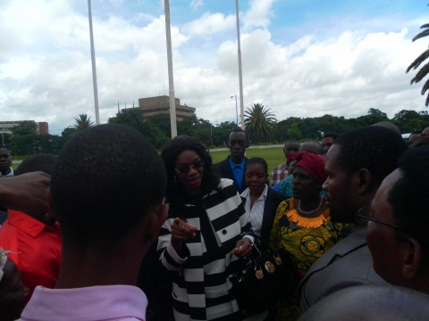 Monday Feb 24th 2014, photos of Sylvia Masebo with my sister, my lawyers and my people from chongwe at the Supreme Court and supporters